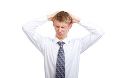 Handsome young business man happy smile. Businessman hands on head, business man stressed, headache, pain, closed eyes stock images