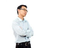 Handsome young business man happy smile look up to empty copy space Stock Photos
