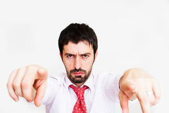 young business man point finger at camera Royalty Free Stock Photos