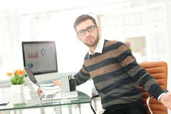 Handsome young business man  working in meeting room. Stock Photo
