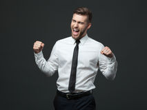 Handsome young businessman celebrating his success. Stock Image