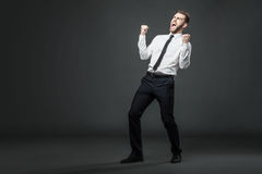 Handsome young businessman celebrating his success. Royalty Free Stock Photos