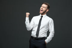 Handsome young businessman celebrating his success. Royalty Free Stock Image