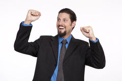 Handsome young businessman celebrating success Stock Image