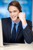 Handsome young businessman communicating Stock Photos