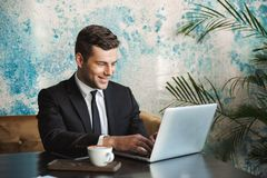 Handsome young businessman in formal clothes indoors in cafe using laptop computer stock photos