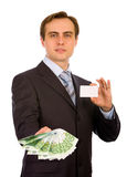 Handsome young businessman. Isolated on white. Royalty Free Stock Image