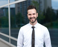 Handsome young businessman looking confidently Royalty Free Stock Image