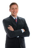 Handsome Young Businessman Portrait. Portrait of young attractive businessman crossing arms. Isolated on white Stock Photo