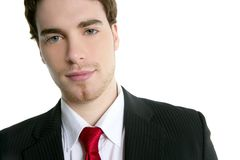 Handsome young businessman portrait tie suit. White background Stock Photography