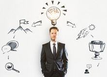 Leadership and idea concept. Handsome young businessman standing on concrete wall background with creative business sketch. Leadership and idea concept Stock Photos