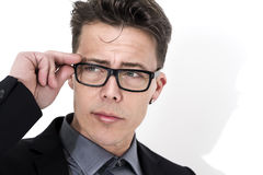 Handsome young businessman wearing glasses Royalty Free Stock Images