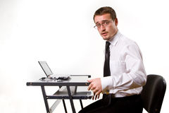 Handsome young businessman working Royalty Free Stock Photography