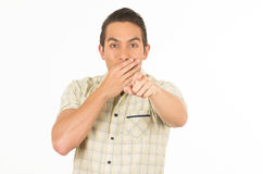 Handsome young casual man posing pointing to the Royalty Free Stock Photo