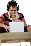 Handsome young caucasian man, laptop Royalty Free Stock Photo