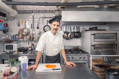 Handsome young chef, commercial kitchen royalty free stock photos