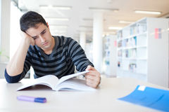Handsome young college student in a library Stock Image