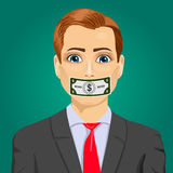 Handsome young corrupt man hundred dollar bill taped to mouth  Stock Photos