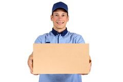 Handsome young delivery man royalty free stock images