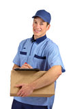 Handsome young delivery man Stock Photo
