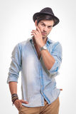 Handsome young fashion man holding one hand in his pocket Stock Image