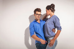 Handsome young fashion man looking down Royalty Free Stock Image