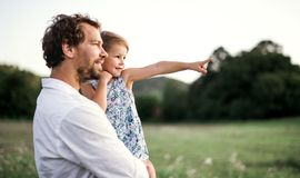 Young father in nature holding small daughter in the arms. Copy space. Handsome young father in green sunny summer nature holding his cute small daughter in the stock photo