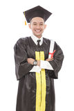 handsome young graduation man with armcrossed smiling while hold Stock Photography