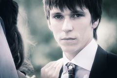 Handsome young groom  portrait Royalty Free Stock Image