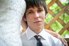 Handsome young groom  portrait Royalty Free Stock Images