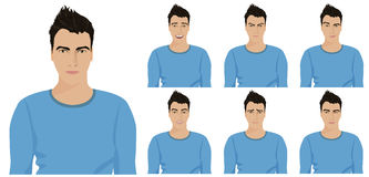 Handsome young guy with different facial emotions and expressions set. Vector illustration. Stock Images