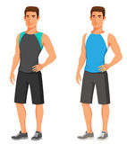 Handsome young guy in fitness outfit royalty free illustration