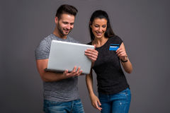 Nice young couple in the studio Royalty Free Stock Image