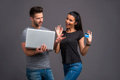 Nice young couple in the studio Royalty Free Stock Photography