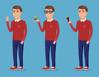 A handsome young guy holding a mobile phone in his hand, a gift and a gesture sign of victory. Man dressed in casual clothes. Vector illustration of funny male Stock Photography