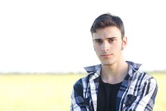 Handsome young guy outdoors Royalty Free Stock Photography