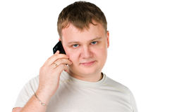 Handsome young guy speaking on cellphone Stock Photo