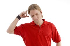 Handsome young guy thinking hard Royalty Free Stock Photography