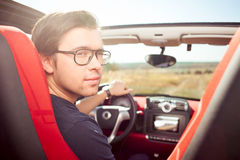 Handsome young guy is traveling by personal Stock Photo