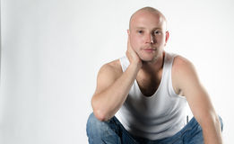 Handsome young guy in white t-shirt Stock Photo