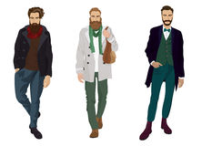 Handsome young guys with hipster beards in fashion and casual clothes isolated. vector illustration