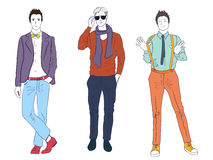 Handsome young guys men models in casual modern fashion clothes isolated. Flat sketch line man people set. Royalty Free Stock Image