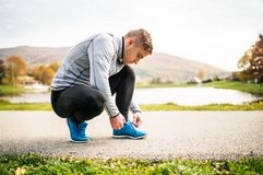 Handsome young runner tying shoelaces. Royalty Free Stock Photography