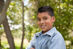 Handsome Young Hispanic Boy in the Park Stock Photo