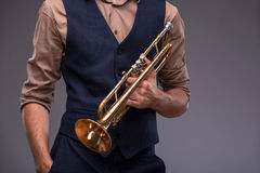 Handsome young jazz man Royalty Free Stock Images
