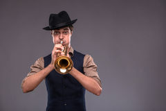 Handsome young jazz man Royalty Free Stock Image