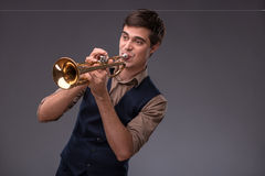 Handsome young jazz man Stock Images