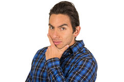 Handsome young latin man wearing a blue plaid Stock Photo