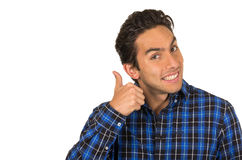 Handsome young latin man wearing a blue plaid Stock Photos