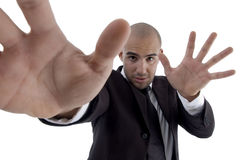Handsome Young Lawyer Showing Open Palms Stock Photo